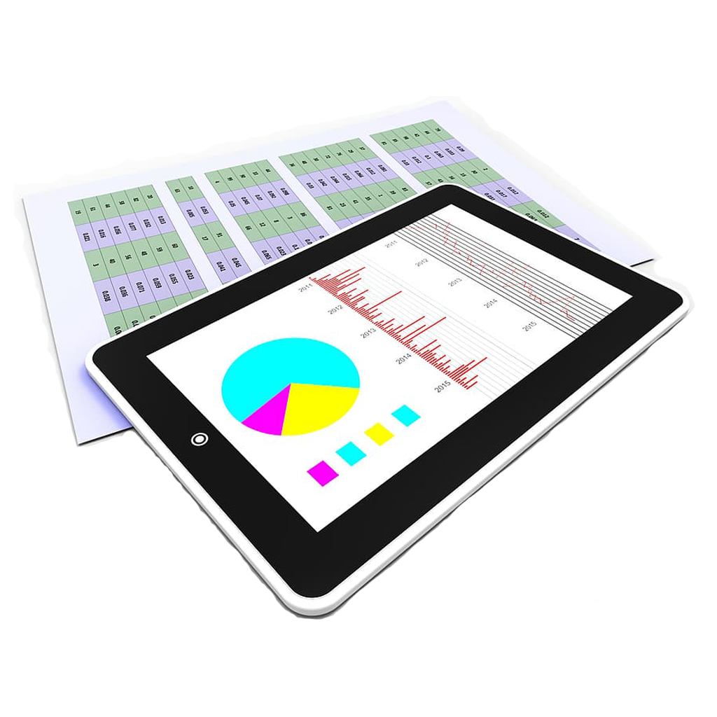 iPad with charts and paperwork